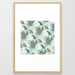 Tiny Tails: Fluffy Bunnies Framed Art Print