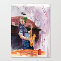 saxophone Canvas Prints featuring Playing saxophone by aurora villaviejas