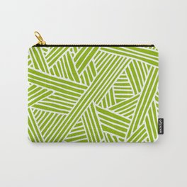 Abstract apple green & white Lines and Triangles Pattern- Mix and Match with Simplicity of Life Carry-All Pouch