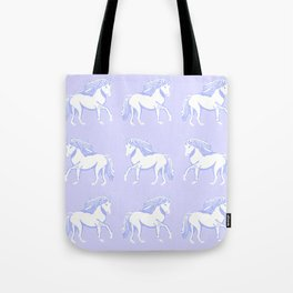 Lavender and White Unicorns Pattern Tote Bag