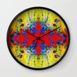 WESTERN YELLOW & RED GARDEN GOLD BLUE FLOWERS Wall Clock
