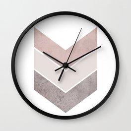 DARK BLUSH GRAY CONCRETE CHEVRON Wall Clock