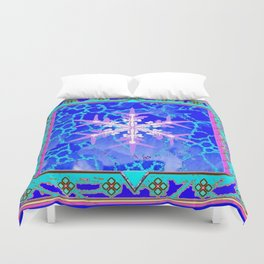 Blue Frozen Snowflake Abstract Art Duvet Cover