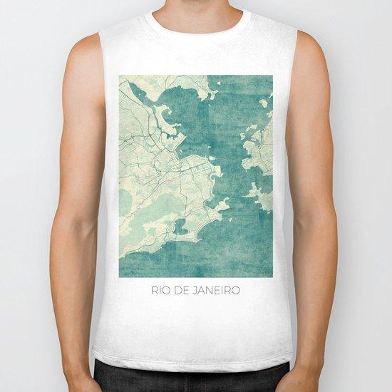 Rio de Janeiro Map Blue Vintage Biker Tank