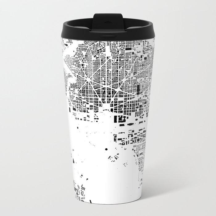 Washington Map Schwarzplan Only Buildings Metal Travel Mug