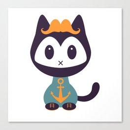 Cute kitten in t-shirt with anchor Canvas Print
