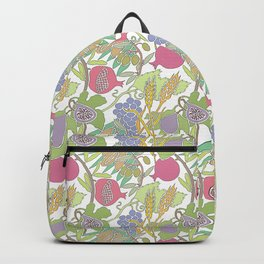 Seven Species Botanical Fruit and Grain with Pastel Colors Backpack