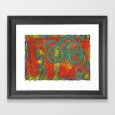 Green spirals Framed Art Print