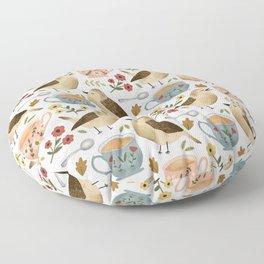 Birds, Teacups, and Flowers Floor Pillow