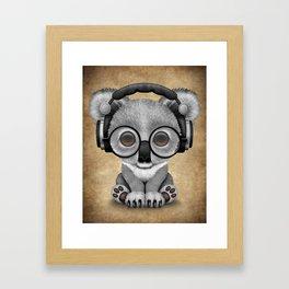 Cute Baby Koala Bear Dj Wearing Headphones Framed Art Print