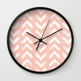 Paintbrush Arrow Pattern Blush Pink Wall Clock