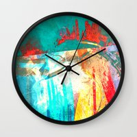 surfing Wall Clocks featuring Surfing by Fernando Vieira