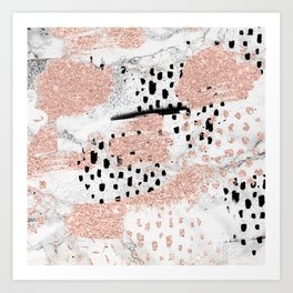 Rose gold glitter black brushstrokes white marble pattern Art Print