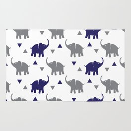 Elephants & Triangles - Gray / Navy Blue Rug