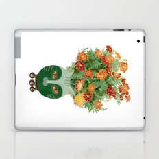 Marigolds in cat face vase  Laptop & iPad Skin