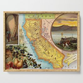Old Map of California with Illustrations (1890) Serving Tray