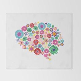 Flower brain Throw Blanket