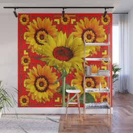 WESTERN STYLE RED COLOR YELLOW-GOLD SUNFLOWERS Wall Mural