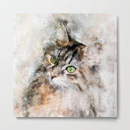 Duchess Watercolor Cat Metal Print