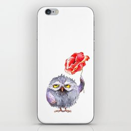 Owl and poppy iPhone Skin