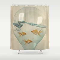 glass Shower Curtains featuring Hour Glass Goldfish by Vin Zzep