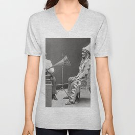 Ethnomusicologist playing a cylinder recording for Mountain Chief,1916 Unisex V-Neck