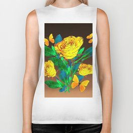 BROWN SHADES YELLOW SPRING ROSES & BUTTERFLIES Biker Tank