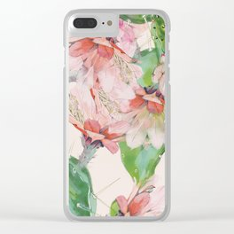 spring cacti bloom Clear iPhone Case