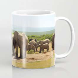 Elephants at the waterhole Coffee Mug