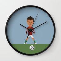ronaldo Wall Clocks featuring Ronaldo Free kick (Portugal) by 8bit Football