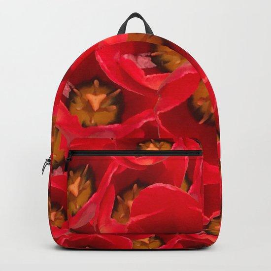 Venetian Red Tulips Backpack