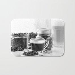 Black and white coffee bar Bath Mat