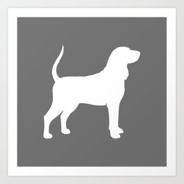 White Coonhound Silhouette Art Print