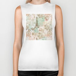 I love Paris - Vintage Shabby Chic - Eiffeltower France Flowers Floral Biker Tank