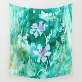 Green encaustic flowers Wall Tapestry