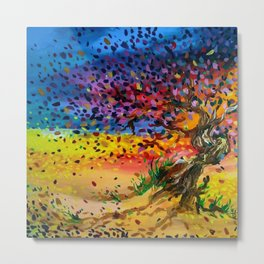 Golden Twisted Tree Expressive Painting by annmariescreations Metal Print