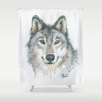 wolf Shower Curtains featuring Wolf  by Olechka