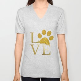Love is a Four Letter Word - Black and Gold Unisex V-Neck