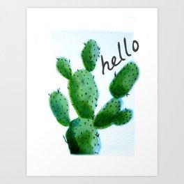 Hello Cactus 2 Hand Painted Watercolor Art Print