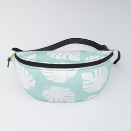 White Monstera Leaves Pattern  |  Mint Background Fanny Pack