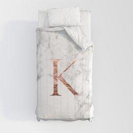 Monogram rose gold marble K Comforters