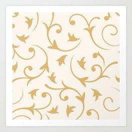 Baroque Design – Gold on Cream Art Print