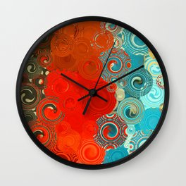 Turquoise and Red Swirls Wall Clock
