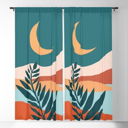 Moonlit Mediterranean / Maximal Mountain Landscape Blackout Curtain