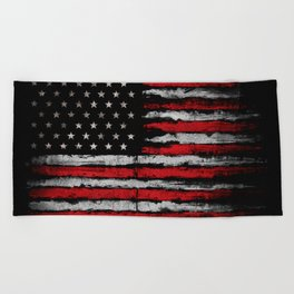 Red & white Grunge American flag Beach Towel