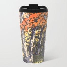 Japanese Woodblock -  Autumn in Oirase by Kawase Hasui, 1933 Travel Mug
