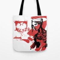 poland Tote Bags featuring Poland by viva la revolucion