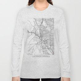 Colorado Springs Map White Long Sleeve T-shirt