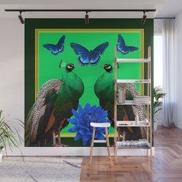 BLUE BUTTERFLIES & GREEN PEACOCKS FLORAL Wall Mural