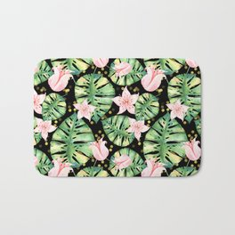 Tropical Jungle Print with Monstera, pink flowers and bokeh Bath Mat